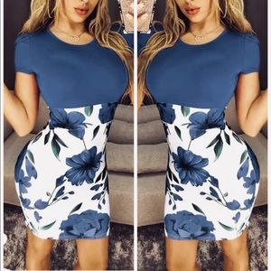 NWT💥XL💥silky empire waist blue white